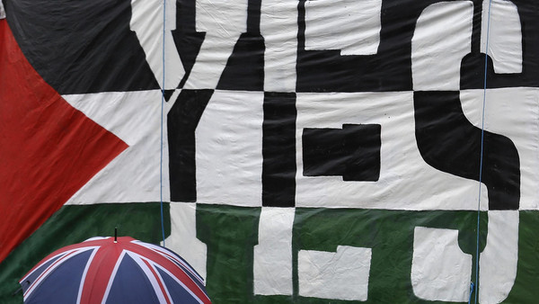 A passer-by carries a Union Flag umbrella past a pro-Palestine demonstration outside the Houses of Parliament in London October 13, 2014. (Reuters)