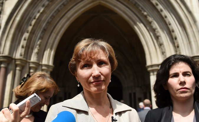 Marina Litvinenko, the widow of Alexander V. Litvinenko, outside the High Court in London after the inquiry into her husband's death ended on Friday.  Credit Andy Rain/European Pressphoto Agency