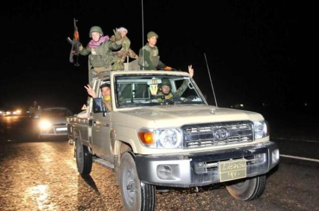 The Iraqi Kurdish Peshmerga convoy left from the Turkish border town of Suruc on Friday night [Getty]