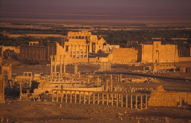 The ruins of the ancient trade center of Palmyra, Syria.
