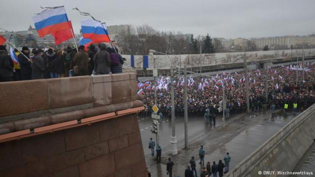 Thousands of people have marched through the Russian capital, at times chanting that President Vladimir Putin must resign. Police authorized the major demonstration in memory of Kremlin critic Boris Nemtsov.
