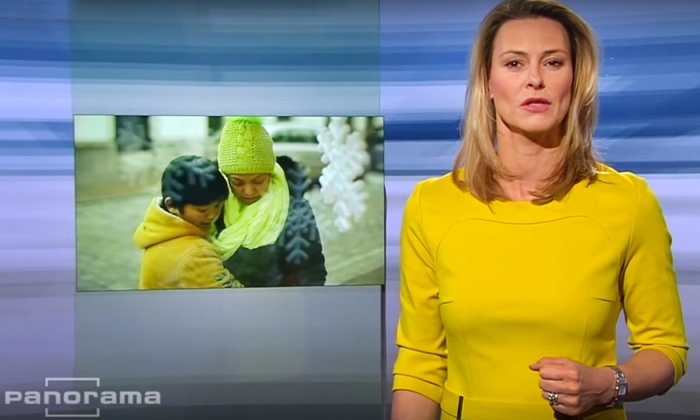 Anja Reschke speaking up on German TV. Photograph: Youtube/German TV