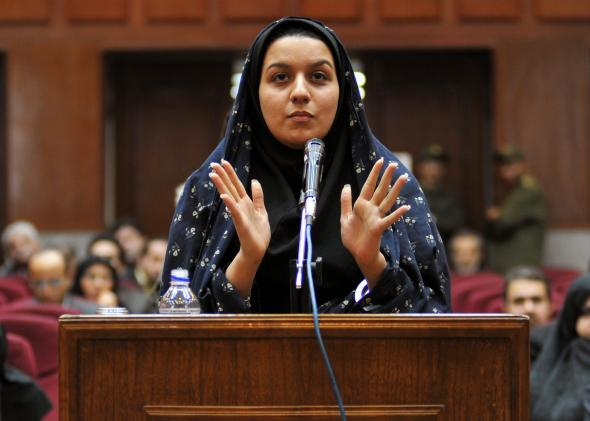 A picture taken on Dec.15, 2008 at a court in Tehran shows Iranian Reyhaneh Jabbari speaking to defend herself during the first hearing of her trial for the murder of a former intelligence official.