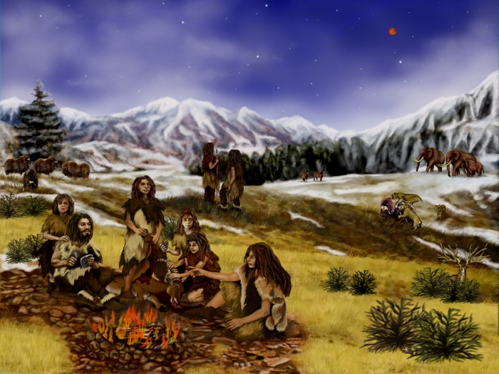 This image shows a family of Neanderthals. The Neanderthals lived in the Northern and Western areas of Eurasia, during the Pleistocene epoch, in the time of the last Ice Age. Neanderthals looked very similar to modern humans. They had slightly more pronounced foreheads, wider noses and larger jaws. They were short and stocky, robust people. The Neanderthals were hunter-gatherers. They created stone tools and weapons, wore garments made of leather and fur. They wore ornamental jewelry and buried their dead ceremonially. Neanderthal also used fire. They lived in Plains, Forest and Mountain areas. Plant foods were only eaten seasonally, so up to 90% of their diet was meat.