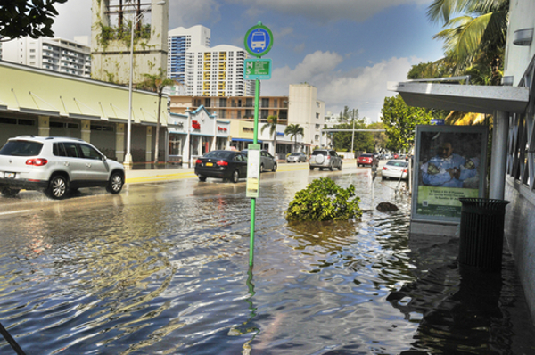 Miami's South Beach, a major entertainment and tourist district in Miami Beach, flooded during Hurricane Sandy. Photo credit: Shutterstock