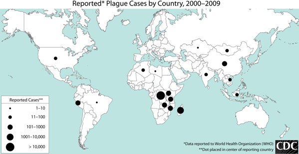 Distribution of plague cases, worldwide.  Data from WHO.