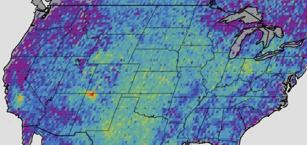 The Four Corners area (red) is the major U.S. hot spot for methane emissions in this map showing how much emissions varied from average background concentrations from 2003-2009 (dark colors are lower than average; lighter colors are higher). Image Credit: NASA/JPL-Caltech/University of Michigan
