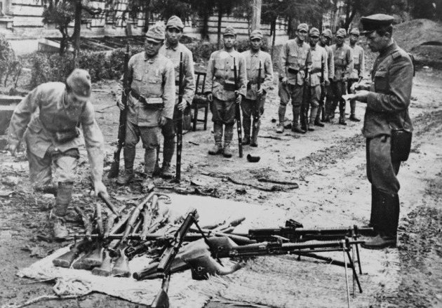 Japanese soldiers surrendering their weapons, northeastern China, Aug-Sep 1945 Library of congress