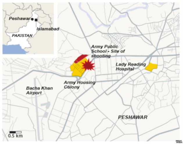 Peshawar, Pakistan, site of school shooting, Dec. 16, 2014
