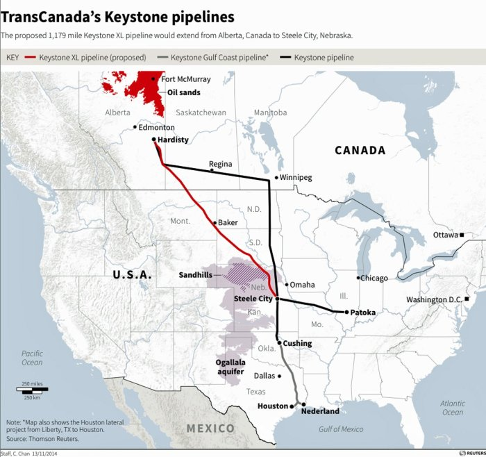 Map showing the proposed route of TransCanada's Keystone pipelines Via Business Insider