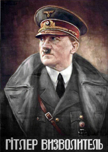 "Nazi propaganda poster made for the Reichskommissariat Ukraine with the portrait of Hitler and the inscription reading in Ukrainian language ""HITLER THE LIBERATOR"""