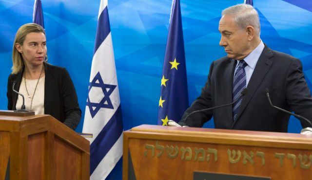 EU foreign policy chief Federica Mogherini, left, attends a media conference with Prime Minister Benjamin Netanyahu, Jerusalem, Nov. 7, 2014.