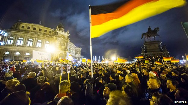 Pegida rallies have been growing in strength in several German cities since they began last October