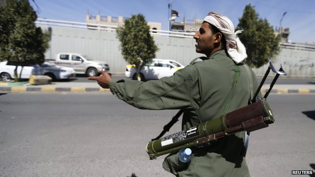 Houthi rebels have set up checkpoints in parts of the capital Sanaa
