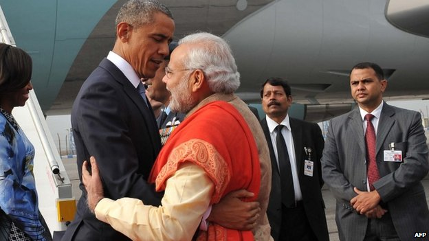 Narendra Modi broke with protocol to meet President Obama personally at the airport in Delhi