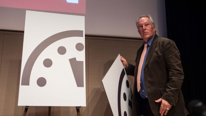 Scientists set the minute hand of the Doomsday Clock at three minutes to midnight.(Nicholas Kamm/AFP/Getty Images)