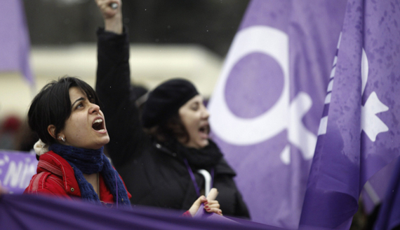 Women protest against the government and violence against women, a day after International Women's Day in Istanbul, March 9, 2014. (photo by REUTERS/Osman Orsal)