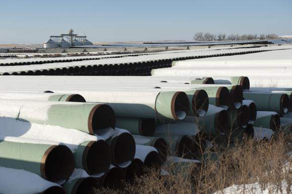A depot used to store pipes for Transcanada Corp's planned Keystone XL oil pipeline is seen in Gascoyne, North Dakota, in this file photo taken November 14, 2014.