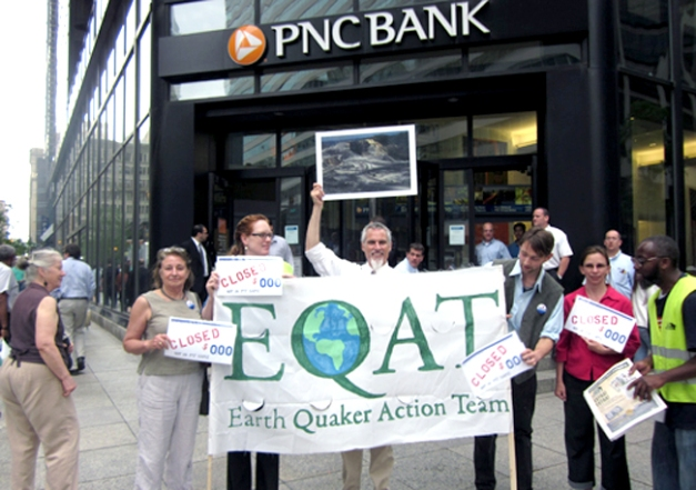 Members of Earth Quaker Action Team protested outside a PNC Bank in 2012 to pressure the bank to end all financing to mountaintop removal coal mining companies. Photo credit: Earth Quaker Action Team