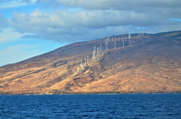 There's plenty of wind on Maui, where these turbines are providing power to the state which plans to go all-renewable by 2040. Photo credit: Shutterstock