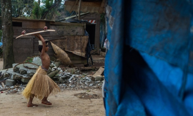 A child in the Guaraní community at Tekoa Itakupe. Photograph: Victor Moriyama/for the Guardian