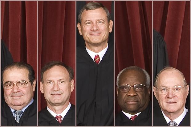 Supreme Court Justices Antonin Scalia, Samuel Alito, John Roberts, Clarence Thomas, Anthony Kennedy (Credit: AP/Pablo Martinez Monsivais)