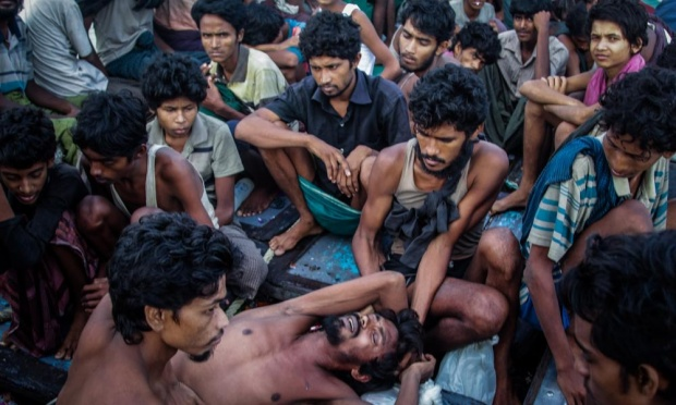 Rohingya migrants on a boat off the coast of Indonesia. Bangladesh and Burma face international scrutiny over the fate of the stateless Rohingya. Photograph: JANUAR/AFP/Getty Images
