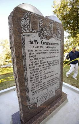 The Oklahoma Supreme Court on Monday ordered a statue of the Ten Commandments be taken down from the State Capitol grounds after denying an appeal. Photo courtesy ACLU of Oklahoma