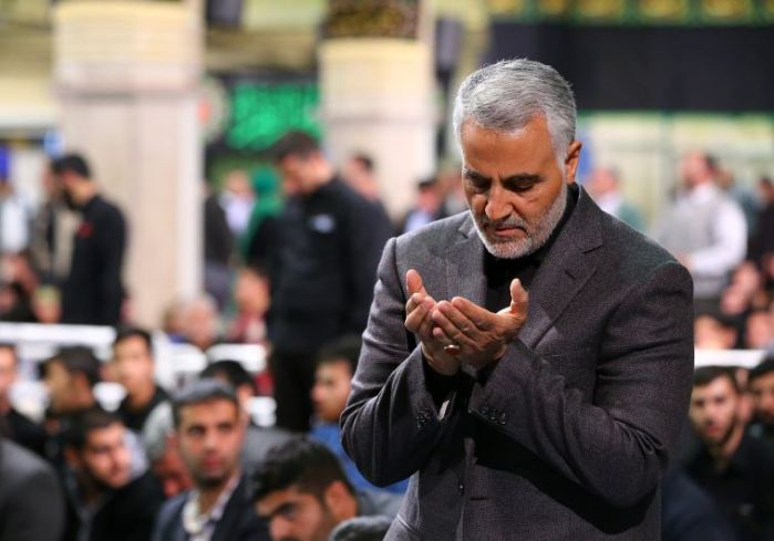 commander of the Iranian Revolutionary Guard's Quds Force, Gen. Qassem Suleimani, attending a religious ceremony in Tehran to commemorate the anniversary of the death of Fatima, the daughter of Prophet Mohammed.. (photo credit:AFP PHOTO)