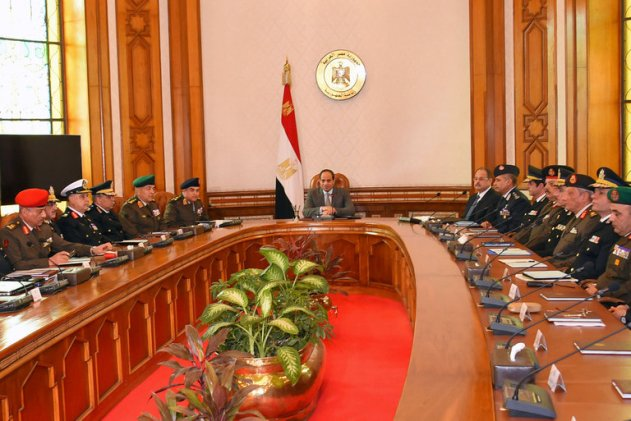 President Abdel Abdel Fattah el-Sisi of Egypt with advisers from the military and security forces on Thursday in Cairo. Credit Egyptian Presidency