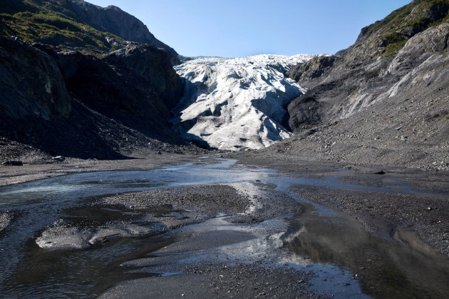 Melt runoff from Exit Glacier in Kenai Fjords National Park. About ten years ago, this spot would have still been part of the glacier. (Official White House Photo by Pete Souza)