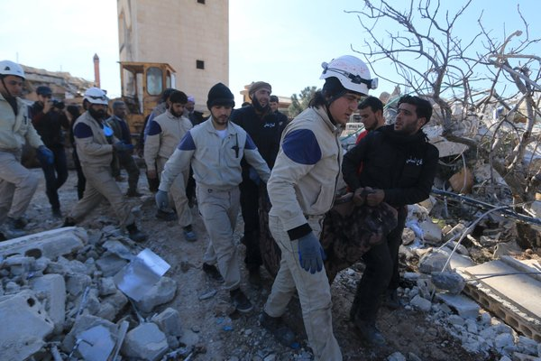 A body was removed from the destroyed hospital. According to Doctors Without Borders, there were 94 attacks last year alone on hospitals and clinics the group supports in insurgent-held areas.  Credit Ammar Abdullah/Reuters