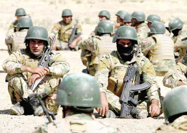 Fighters from predominantly Sunni Arab forces