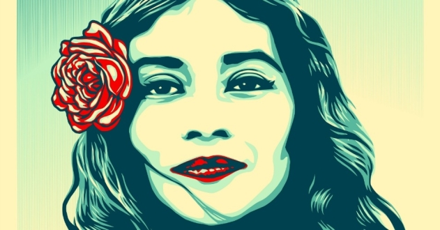 "Shepard Fairey's ""Defend Dignity"" protest art, designed for the Women's March and other inaugural weekend actions. (Image: Shepard Fairey/Obey Giant)"